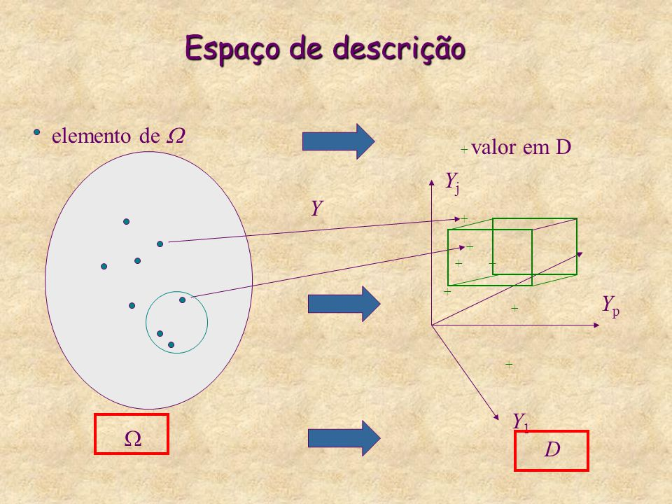 Espaço de descrição elemento de  Yj Y Yp Y1 W D + valor em D + + + +