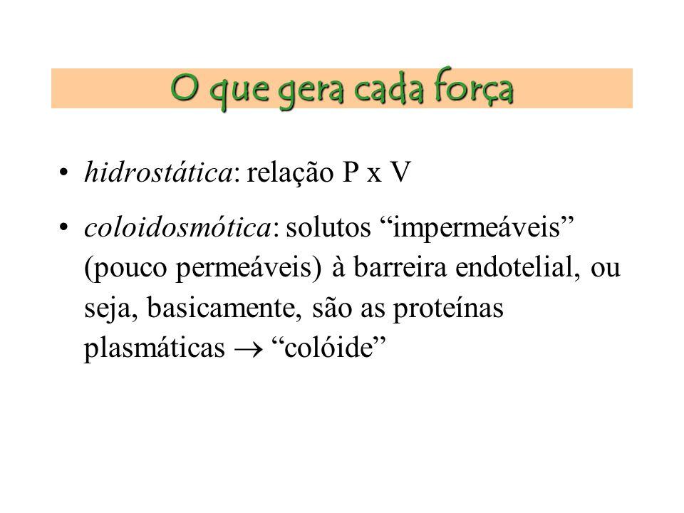 O que gera cada força hidrostática: relação P x V