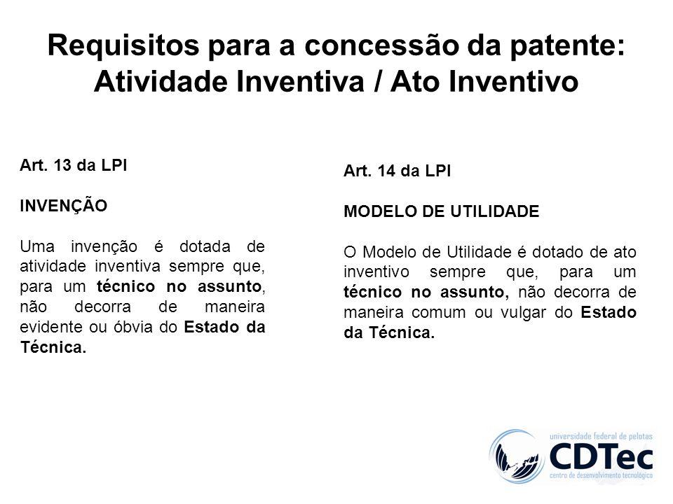Requisitos para a concessão da patente: Atividade Inventiva / Ato Inventivo