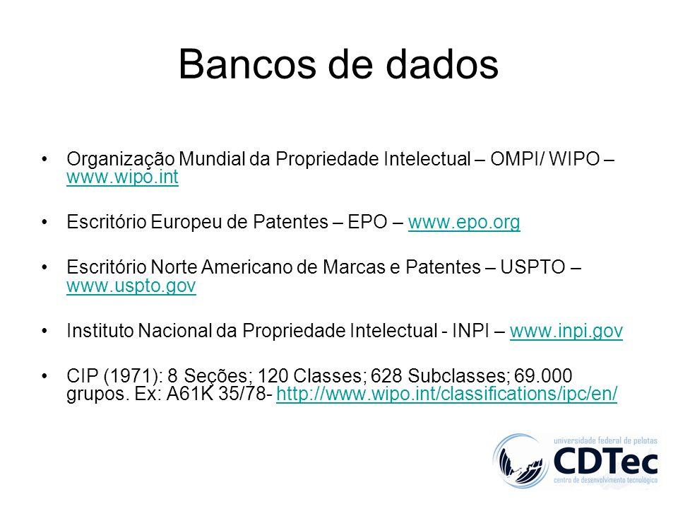 Bancos de dados Organização Mundial da Propriedade Intelectual – OMPI/ WIPO – www.wipo.int. Escritório Europeu de Patentes – EPO – www.epo.org.