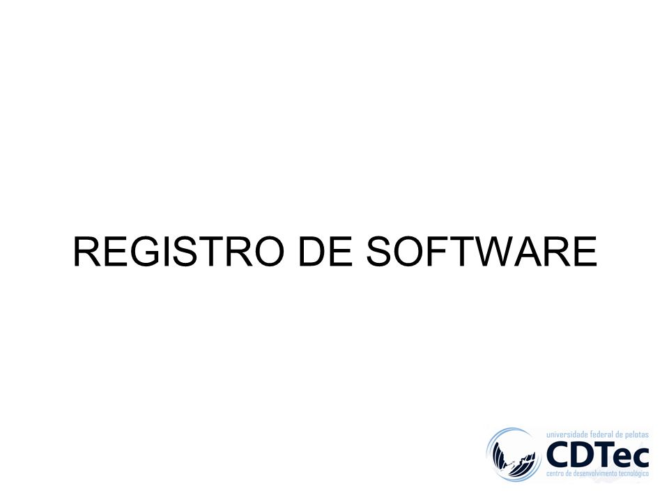 REGISTRO DE SOFTWARE
