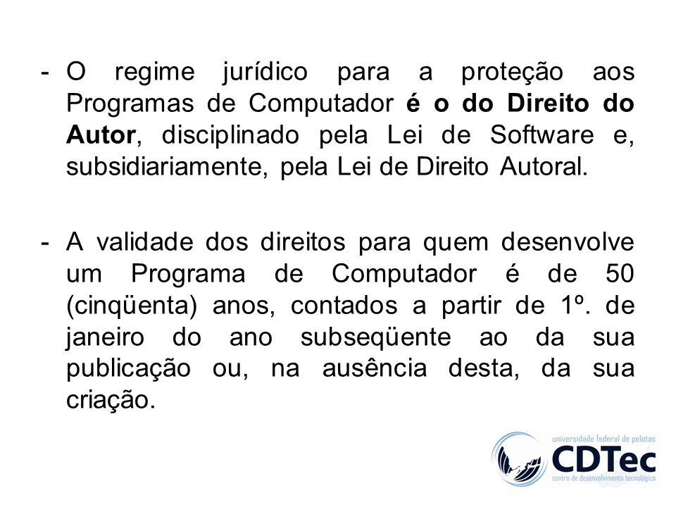 O regime jurídico para a proteção aos Programas de Computador é o do Direito do Autor, disciplinado pela Lei de Software e, subsidiariamente, pela Lei de Direito Autoral.