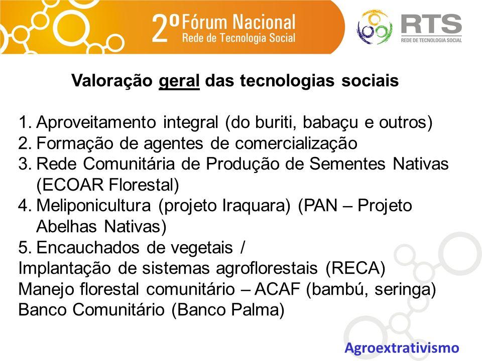 Valoração geral das tecnologias sociais