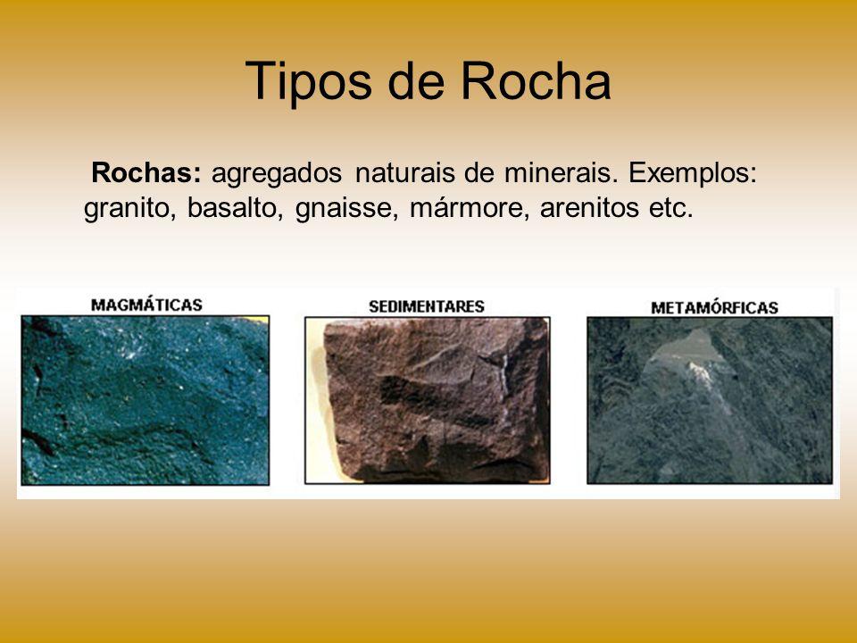 Tipos de Rocha Rochas: agregados naturais de minerais.