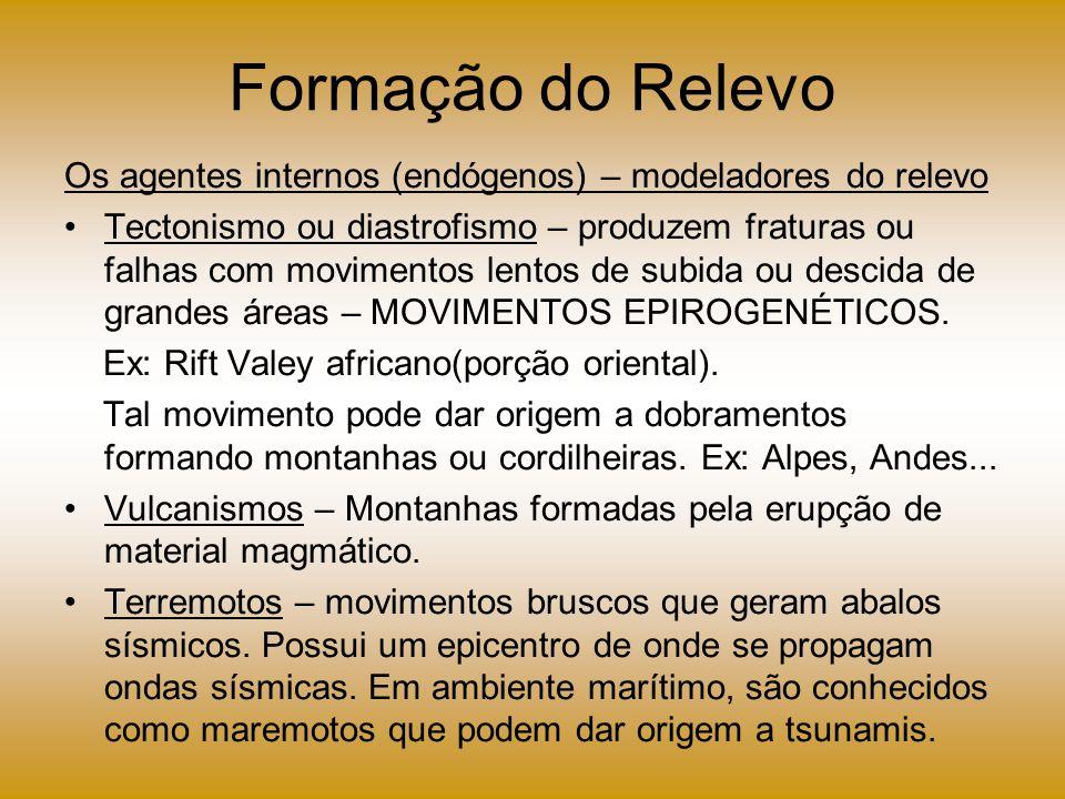 Formação do Relevo Os agentes internos (endógenos) – modeladores do relevo.