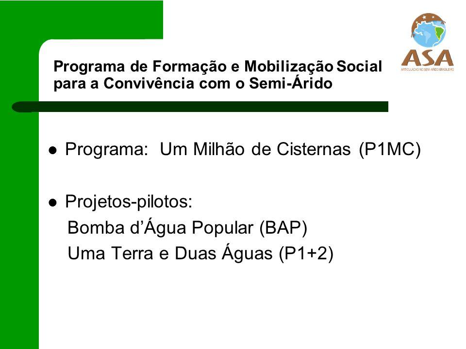 Programa: Um Milhão de Cisternas (P1MC) Projetos-pilotos: