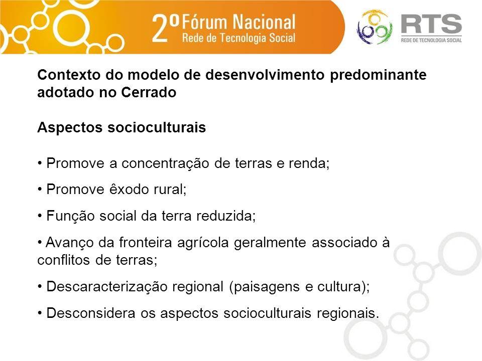 Contexto do modelo de desenvolvimento predominante adotado no Cerrado