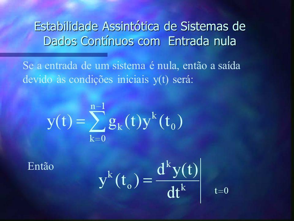 Estabilidade Assintótica de Sistemas de Dados Contínuos com Entrada nula