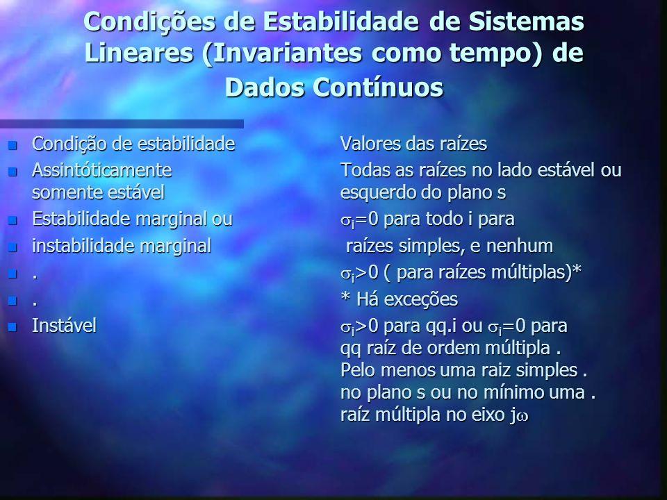 Condições de Estabilidade de Sistemas Lineares (Invariantes como tempo) de Dados Contínuos