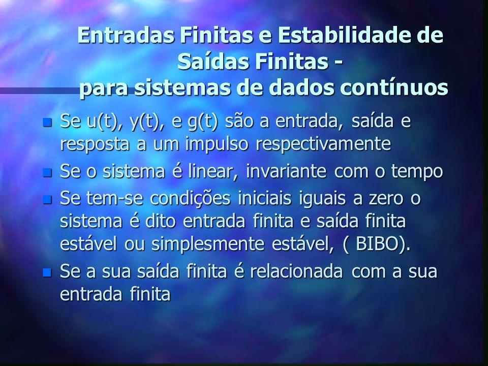 Entradas Finitas e Estabilidade de Saídas Finitas - para sistemas de dados contínuos