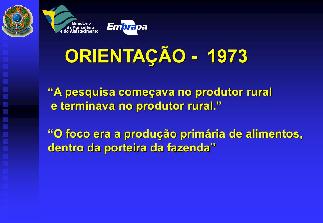 ORIENTAÇÃO - 1973 A pesquisa começava no produtor rural