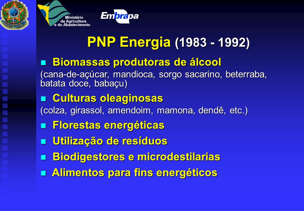 PNP Energia (1983 - 1992) Biomassas produtoras de álcool
