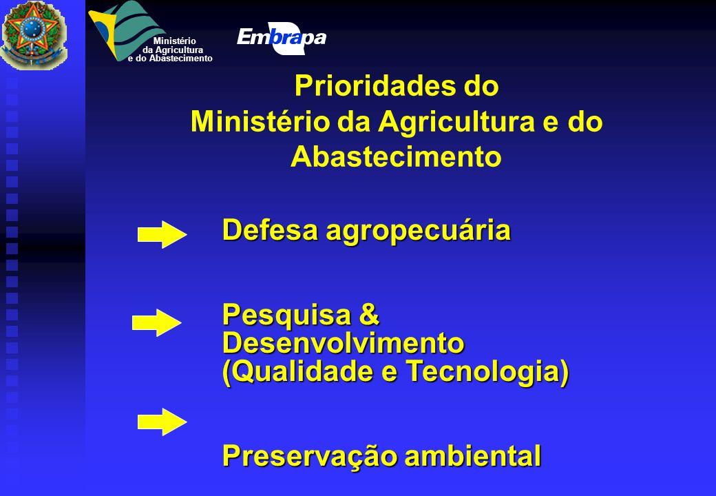 Prioridades do Ministério da Agricultura e do Abastecimento