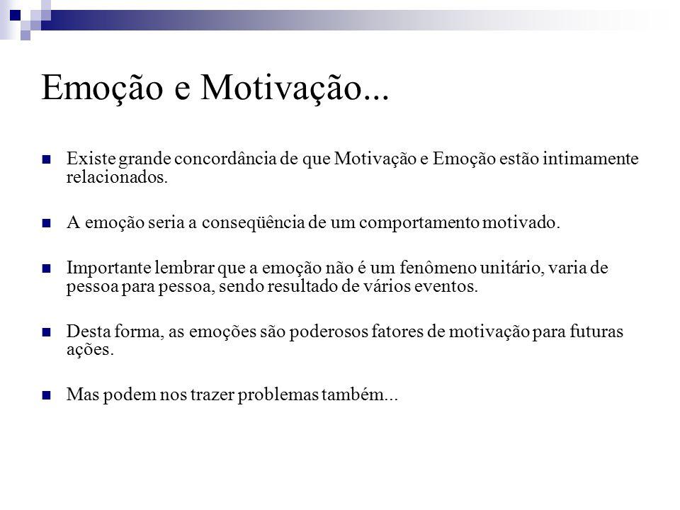 Emoção e Motivação... Existe grande concordância de que Motivação e Emoção estão intimamente relacionados.