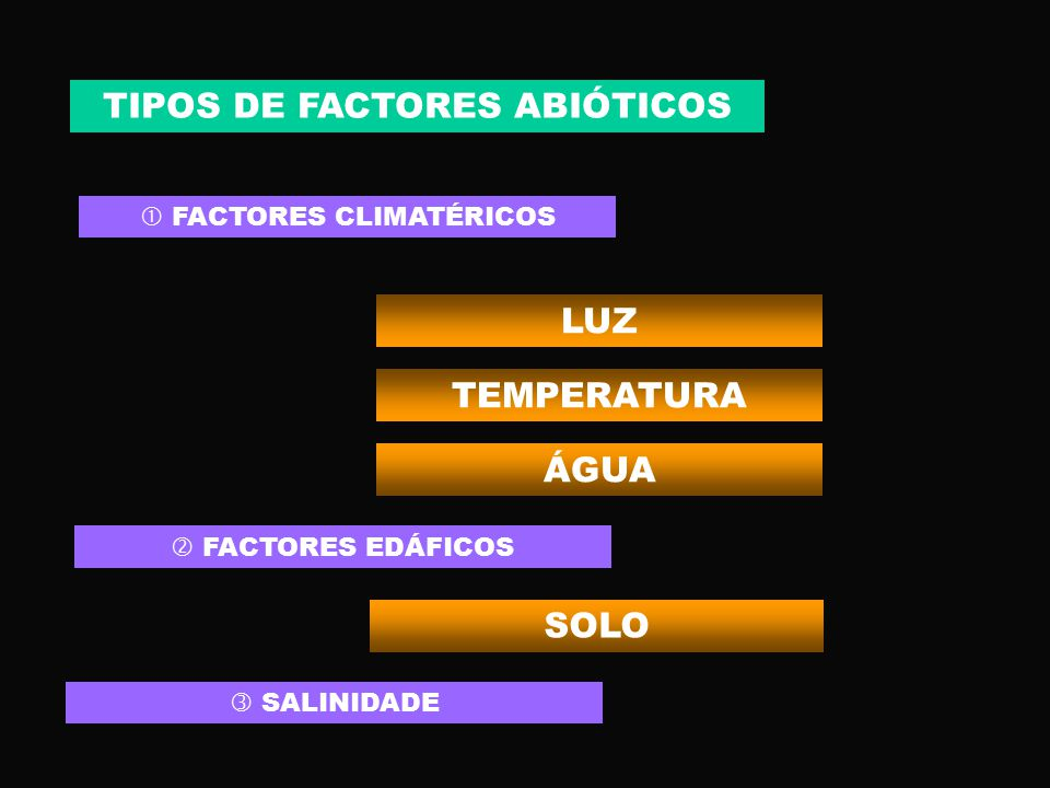 TIPOS DE FACTORES ABIÓTICOS