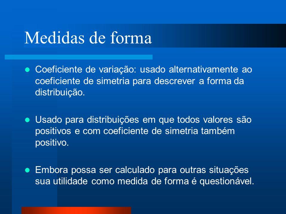 Medidas de forma Coeficiente de variação: usado alternativamente ao coeficiente de simetria para descrever a forma da distribuição.