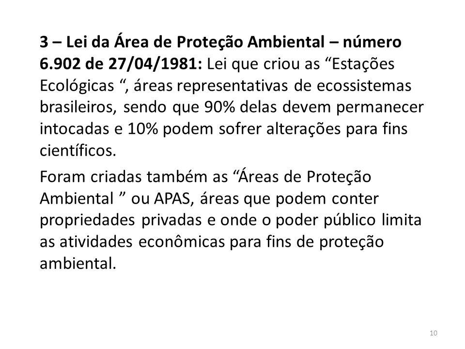 3 – Lei da Área de Proteção Ambiental – número 6