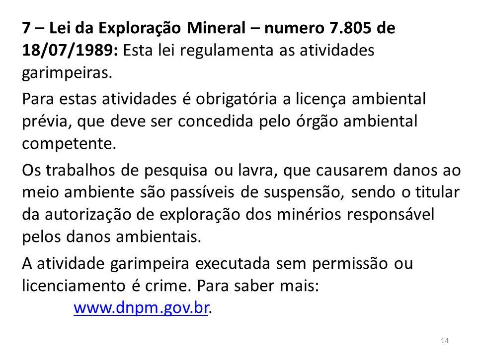 7 – Lei da Exploração Mineral – numero 7
