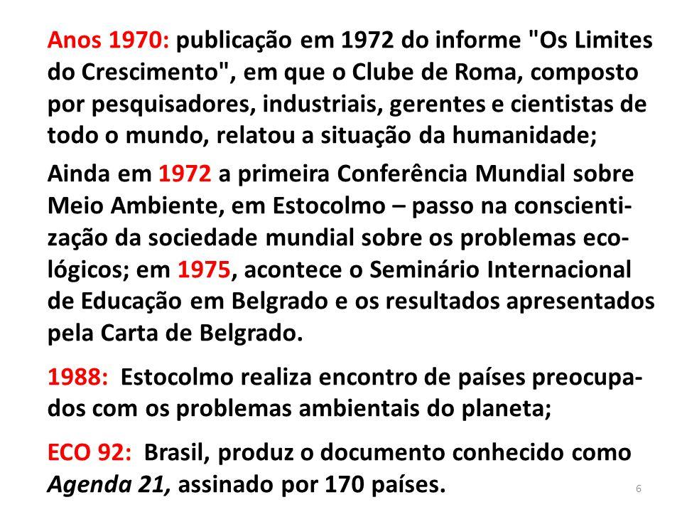Anos 1970: publicação em 1972 do informe Os Limites do Crescimento , em que o Clube de Roma, composto por pesquisadores, industriais, gerentes e cientistas de todo o mundo, relatou a situação da humanidade;