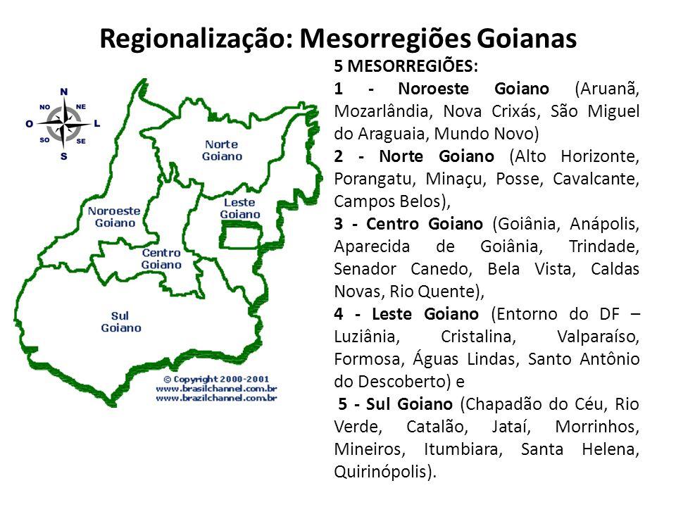 Regionalização: Mesorregiões Goianas