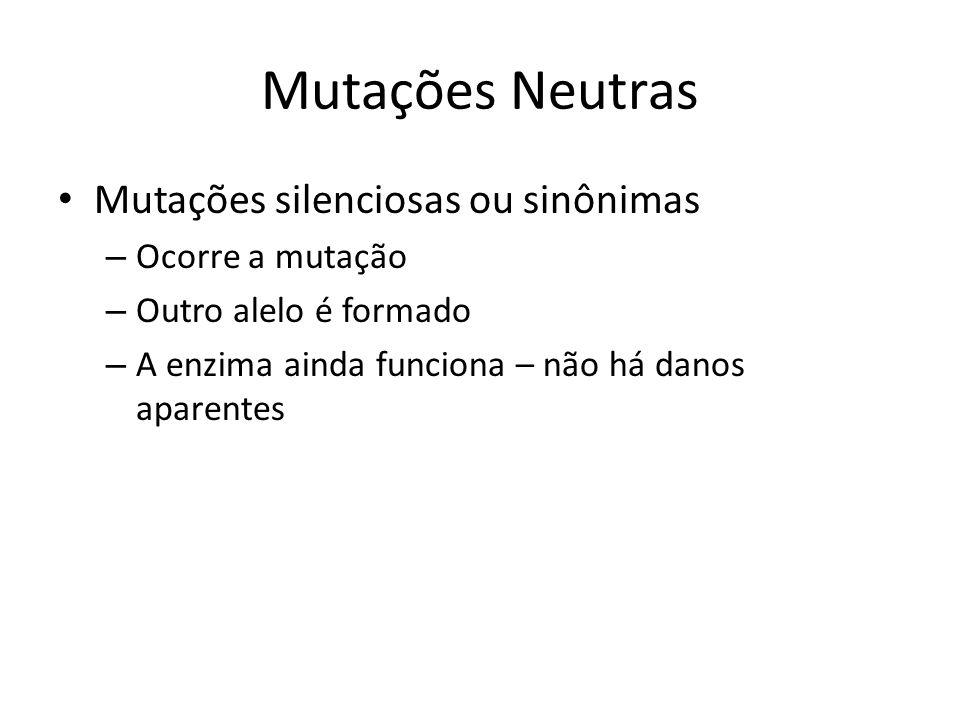 Mutações Neutras Mutações silenciosas ou sinônimas Ocorre a mutação