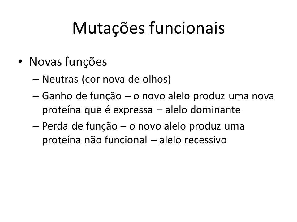 Mutações funcionais Novas funções Neutras (cor nova de olhos)