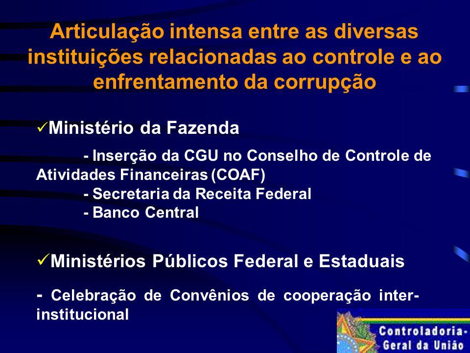 Articulação intensa entre as diversas instituições relacionadas ao controle e ao enfrentamento da corrupção