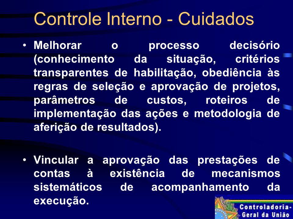 Controle Interno - Cuidados
