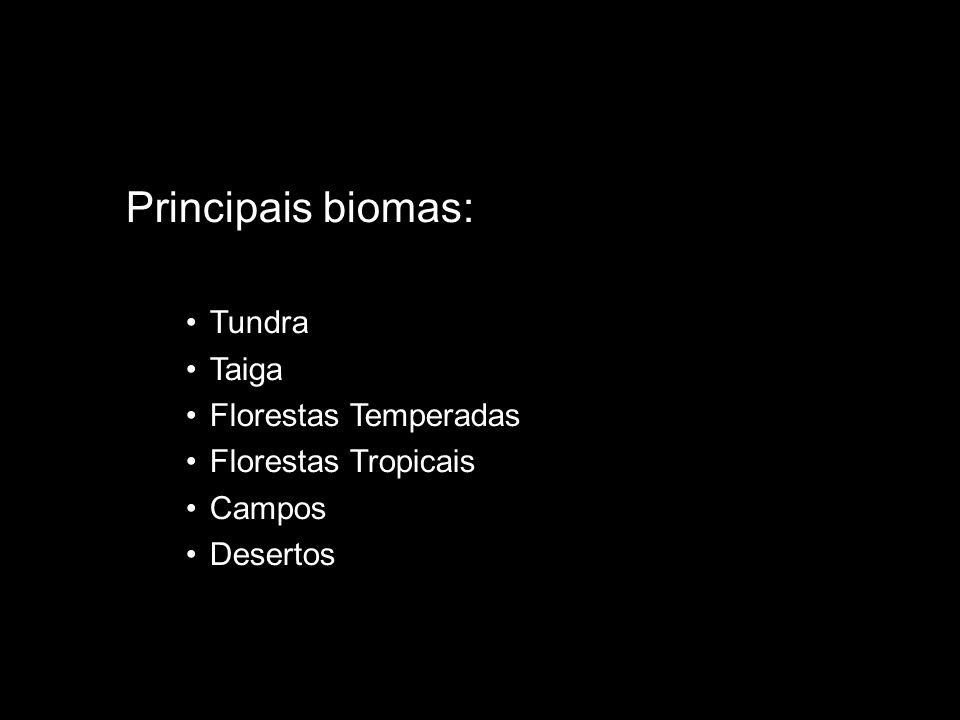 Principais biomas: Tundra Taiga Florestas Temperadas