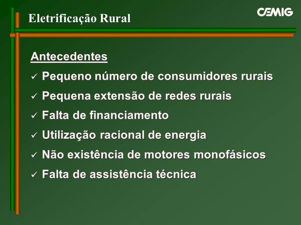 Eletrificação Rural Antecedentes Pequeno número de consumidores rurais