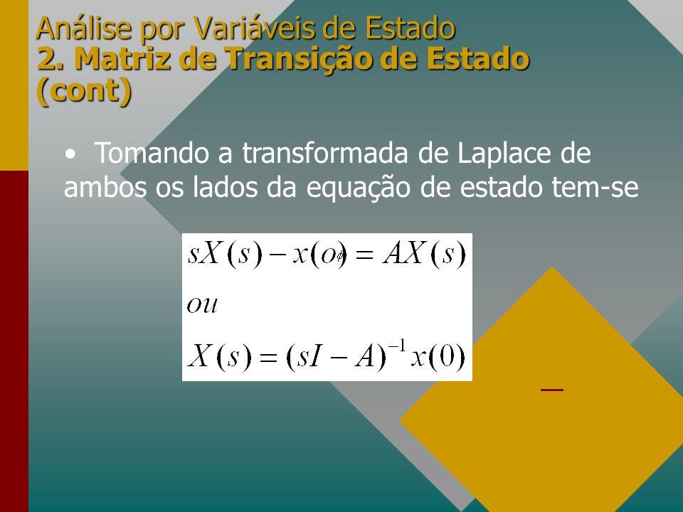 Análise por Variáveis de Estado 2. Matriz de Transição de Estado (cont)