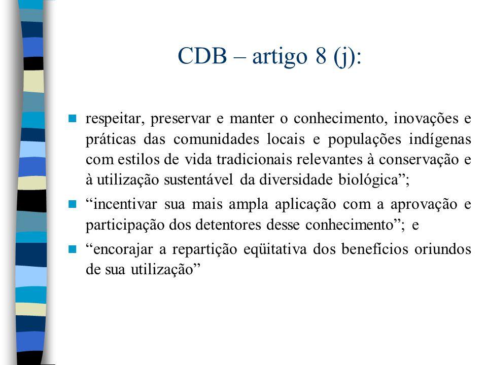 CDB – artigo 8 (j):