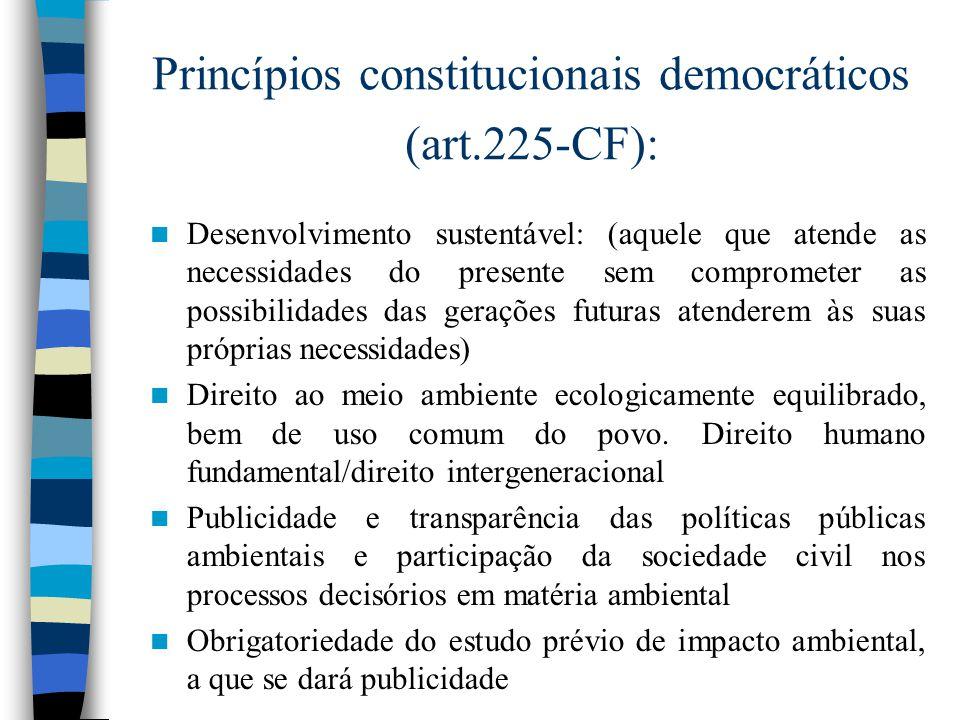Princípios constitucionais democráticos (art.225-CF):