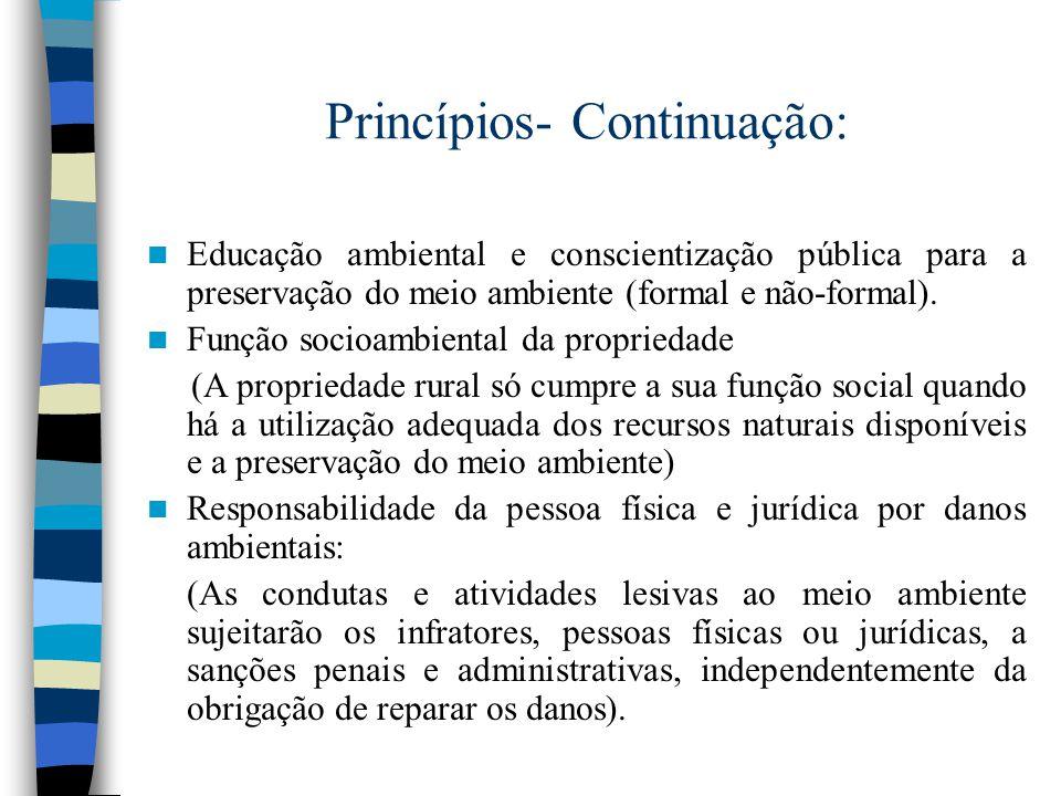 Princípios- Continuação:
