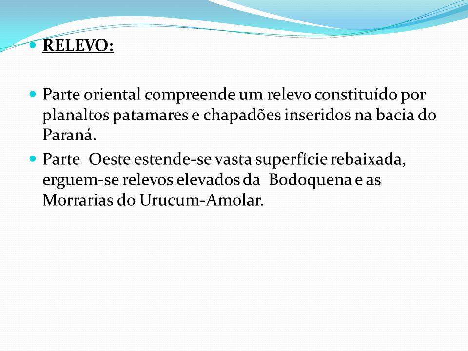 RELEVO: Parte oriental compreende um relevo constituído por planaltos patamares e chapadões inseridos na bacia do Paraná.