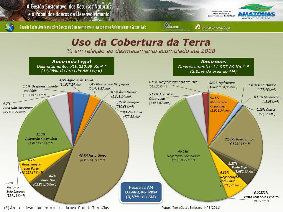 Uso da Cobertura da Terra % em relação ao desmatamento acumulado até 2008