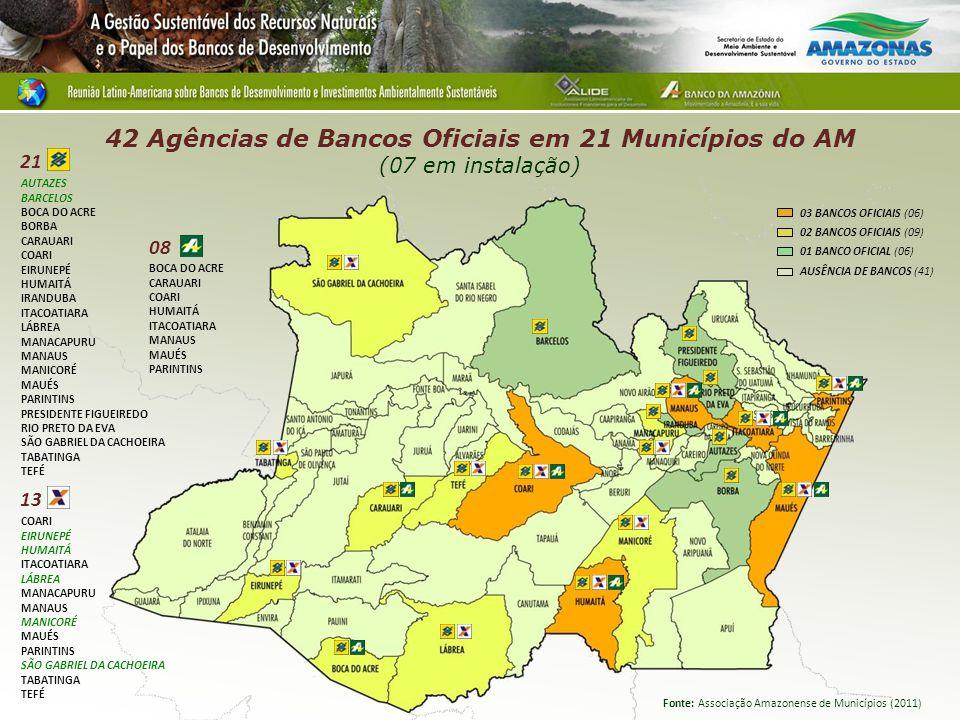 42 Agências de Bancos Oficiais em 21 Municípios do AM (07 em instalação)