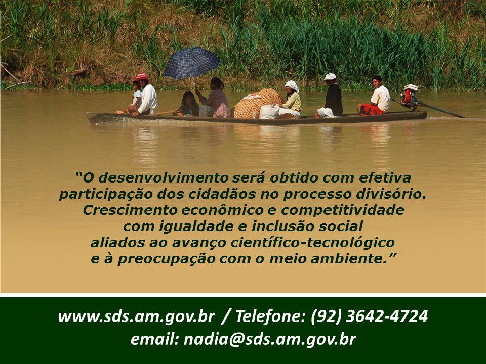 O desenvolvimento será obtido com efetiva participação dos cidadãos no processo divisório. Crescimento econômico e competitividade com igualdade e inclusão social
