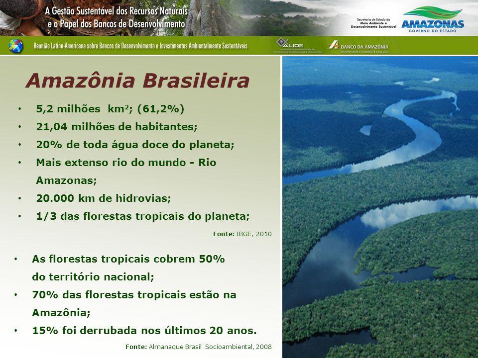 Amazônia Brasileira 5 5,2 milhões km2; (61,2%)