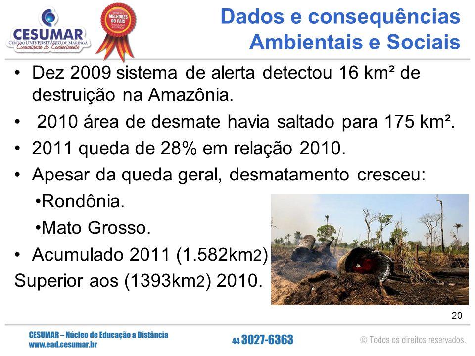 Dados e consequências Ambientais e Sociais