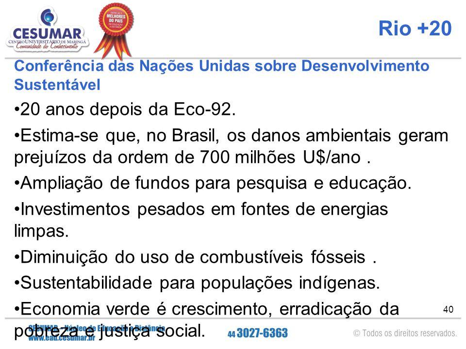 Rio +20 20 anos depois da Eco-92.