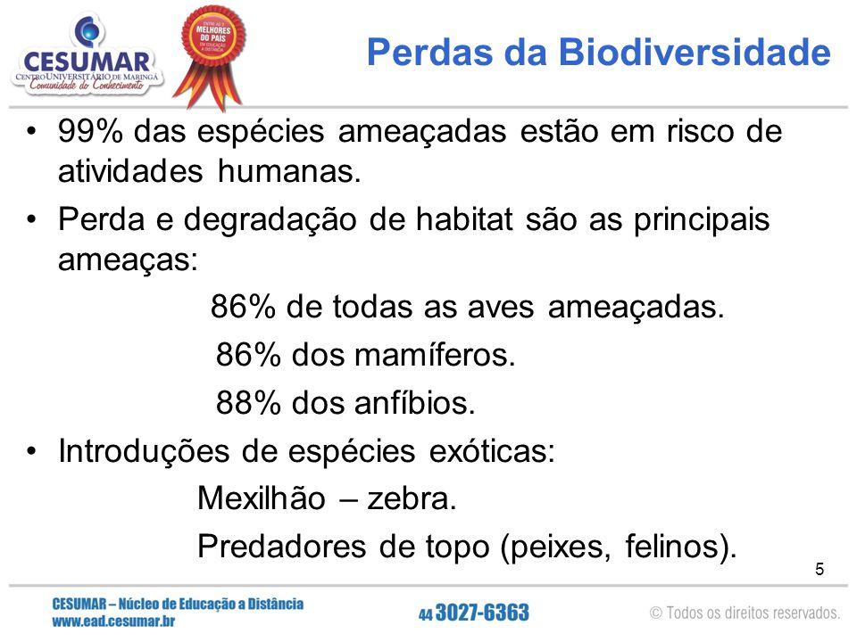 Perdas da Biodiversidade