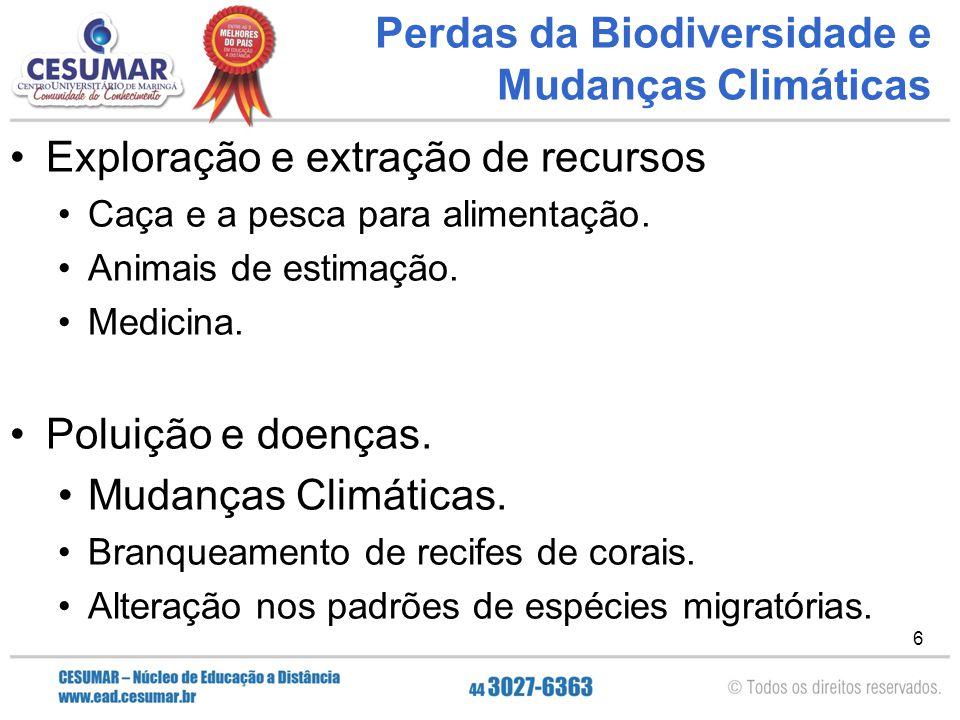 Perdas da Biodiversidade e Mudanças Climáticas