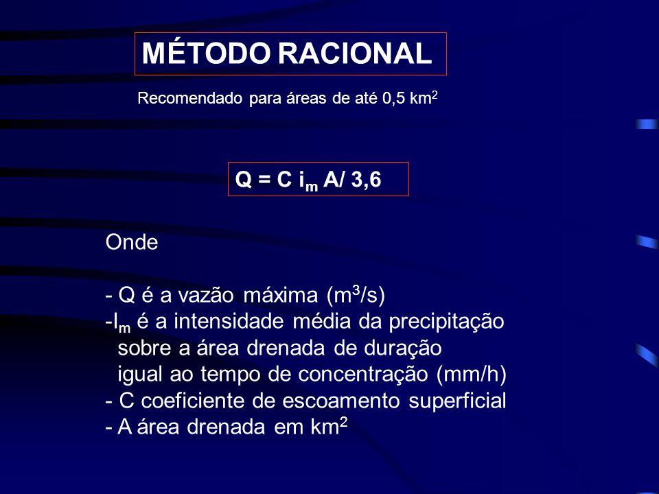 MÉTODO RACIONAL Q = C im A/ 3,6 Onde - Q é a vazão máxima (m3/s)