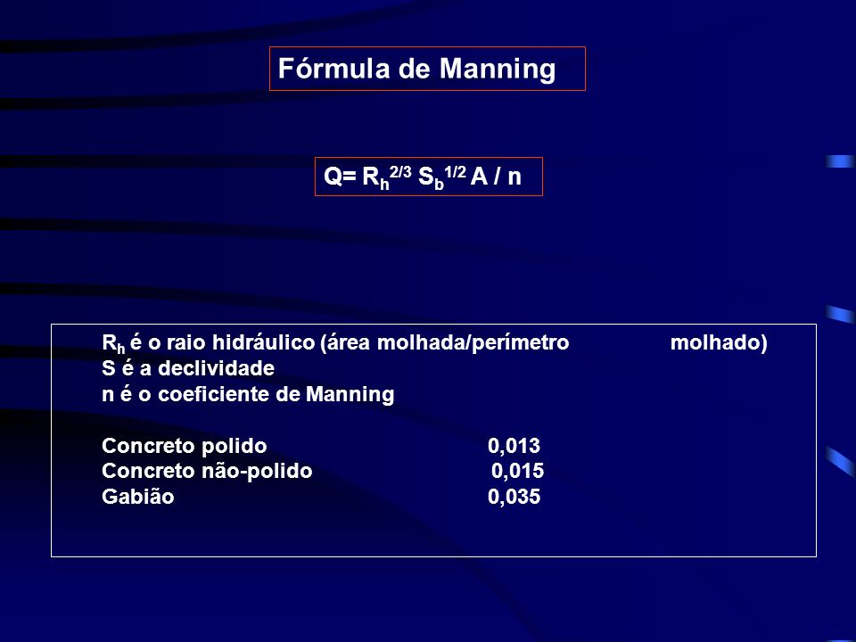 Fórmula de Manning Q= Rh2/3 Sb1/2 A / n