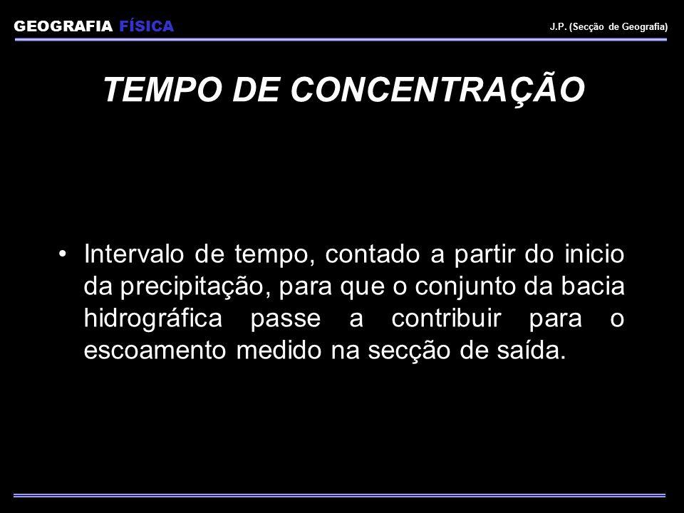 GEOGRAFIA FÍSICA J.P. (Secção de Geografia) TEMPO DE CONCENTRAÇÃO.