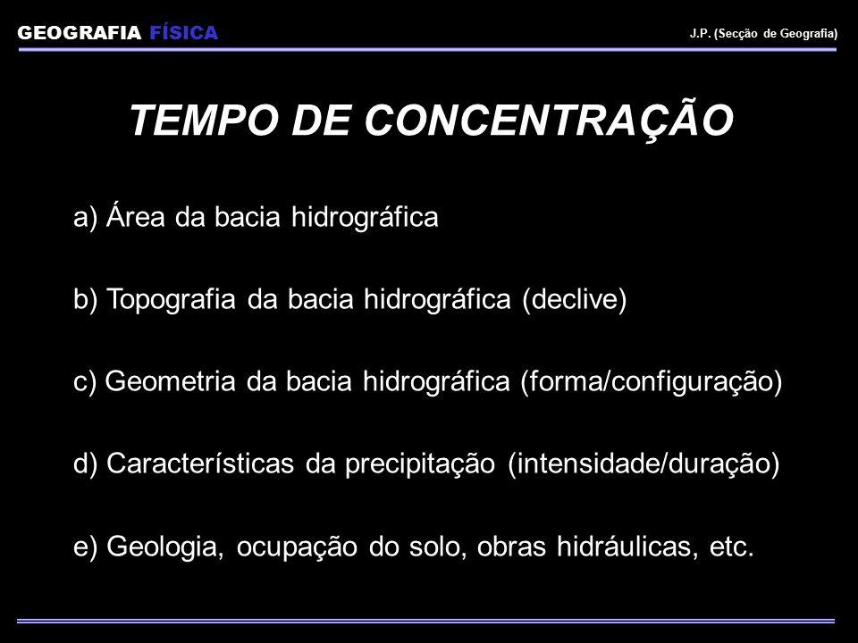 TEMPO DE CONCENTRAÇÃO a) Área da bacia hidrográfica