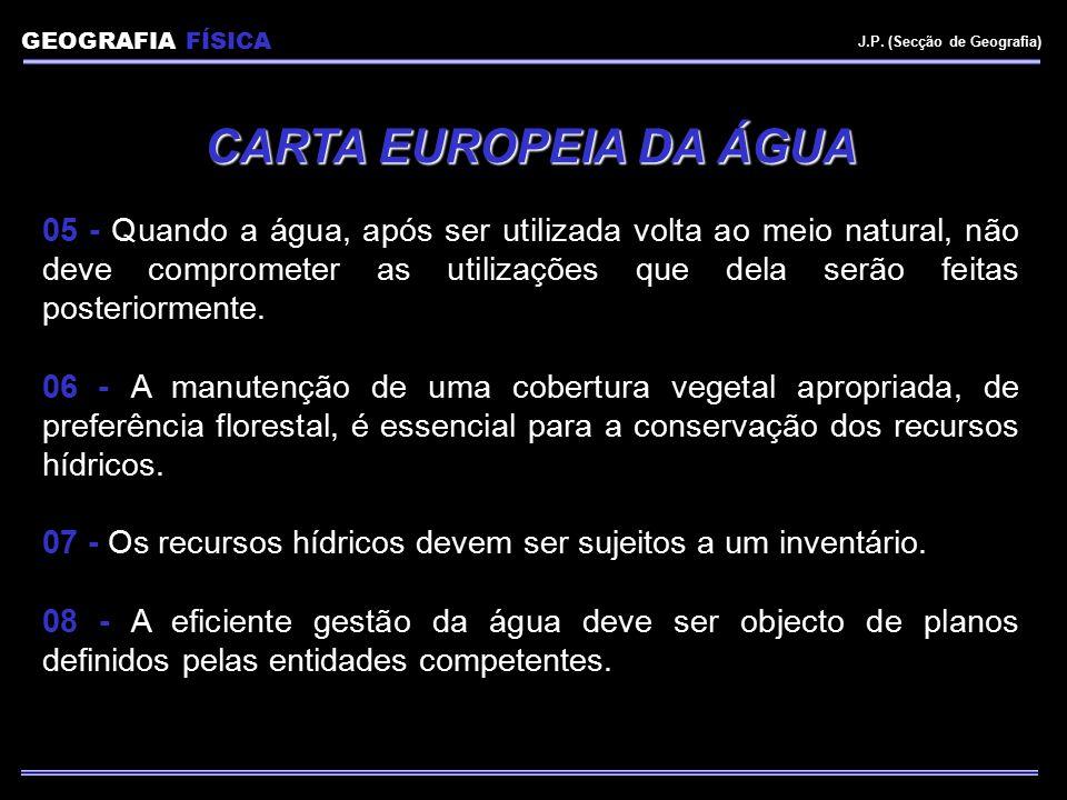 GEOGRAFIA FÍSICA J.P. (Secção de Geografia) CARTA EUROPEIA DA ÁGUA.