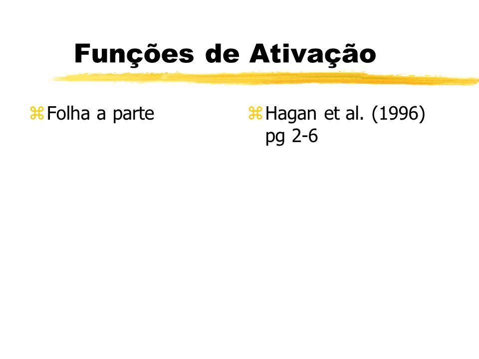 Funções de Ativação Folha a parte Hagan et al. (1996) pg 2-6