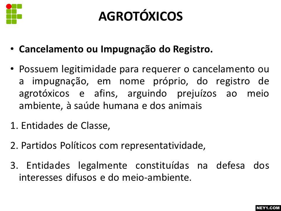AGROTÓXICOS Cancelamento ou Impugnação do Registro.